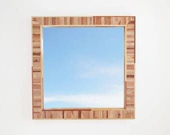 Modern Wood Mirror, Salvaged Wood Frame, 24 Inches Square, Handmade Hanging Mirror