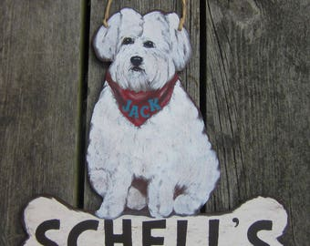 BICHON FRISE Custom Dog Sign - Original Hand Painted Hand Crafted