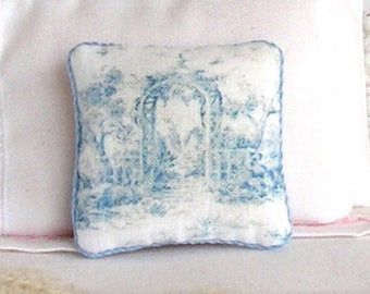 1:12 Pillow - Blue Toile Arbor - Handmade Dollhouse Scale Miniature - Shabby Cottage Chic *Free Shipping*