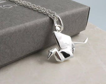 Origami Crane Necklace, sterling silver
