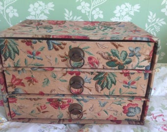 Vintage  French Fabric Covered  Drawers