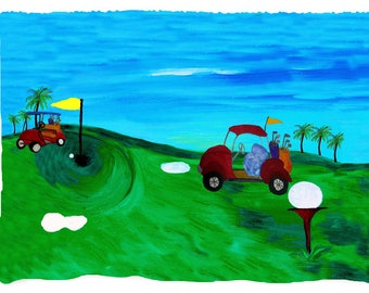 Golf picnic or throw blanket from my original art.