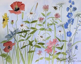 Wildflowers Blue Skies Botanical Flower Watercolor Illustration Giclee Print