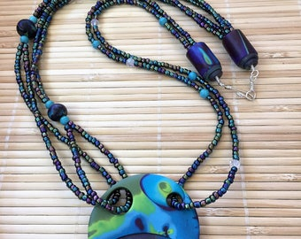 Black and Turquoise Beaded Asymmetrical  Necklace -  Geometric Handmade Polymer Clay Jewelry