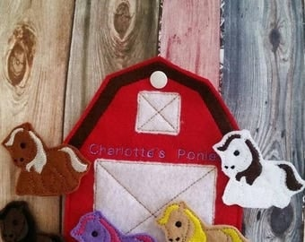 Back to school sale Horse Finger Puppets - Barn Shaped Storage Bag - Free Personalization -  Quiet Toy - Busy Bag - Activity Bag - custom co