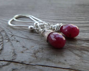 Wire Wrapped Genuine Ruby Birthstone and Gemstone Dangle Earrings with Handmade Fine Silver Earwires
