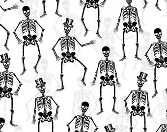 WHITE SKELETONS with Metallic by First Blush Studio, halloween fabric, skulls, black and white, by the yard