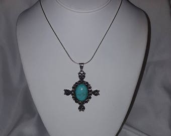 Sterling Cross Pendant ~ Mexico Signed Sterling Silver and Turquoise Cross Pendant and 18 Inch Sterling Silver Snake Chain Necklace