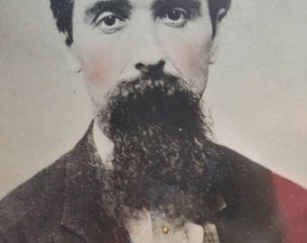 Full PlateTintype Photo Of Handsome Man With Beard and Tinted Cheeks from Rustysecrets
