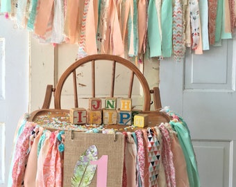 Girls High chair Decoration. Boho Dream Catcher Style High Chair Banner with Burlap Flag. Coral and Mint First Birthday Decoration