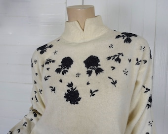90s Embroidered Sweater by Diane Von Furstenberg- 1990s Black & White / Ivory- Small- Turtleneck / high neck- Lambswool / Angora