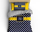 Custom Personalized Polka Dots Bedding, Black-white and Red -Available any size, any colors Also available TW XL fo Dorm Beds