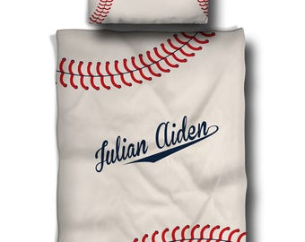 Stitched Baseball  Nursery Comforter and Crib Pillow - Mongrammed with name