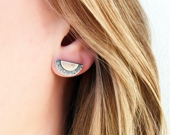 Half moon earrings Half circle earrings Minimal earrings Small stud earrings Textured sterling silver studs Minimal studs Women gift For her
