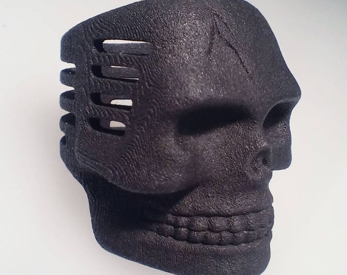 Skull Microphone Ring Matte Black Steel Finish