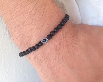 Men's  evil eye Lava beads bracelet - stainless steel - protection - Greek jewelry -
