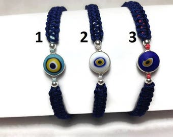 Evil eye macrame bracelet - sterling silver  - protection -  good luck - gift for her - evil eye - Greek jewelry