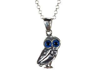 Owl Evil eye necklace - Dark Blue eye - 925 sterling silver - protection - Greek jewelry