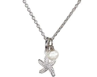 Starfish necklace and pearl in 925 sterling silver - handmade jewelry - Gift for her - fine jewelry - star fish pendant - minimalist