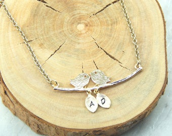 Gold  Lovebirds on a Branch Necklace with Hand stamped Personalized Leaves Choose up to 5 leaves