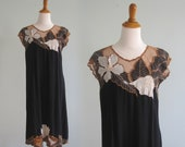 Bali Lace Dress - Beautiful 80s Cutwork Lace Dress in Black, White, and Brown - Vintage Indonesian Lace Dress - Vintage 1980s Dress S M