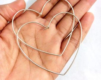 X-Large Sterling Silver Heart Hoop Earrings. X- Large Heart Hand Hammered Hoops with Closure. Valentines Day Hoop Earrings