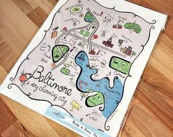 Baltimore City Map Art Print