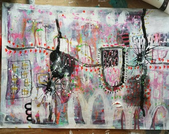 Original Mixed Media art work in shades of peach, neon pink, green, grey and gold.