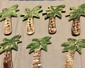 Set of 7 Herb Spice Palm Tree Markers