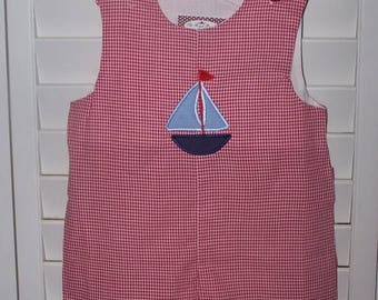 ON SALE Custom Boutique Sailboat Shortall JonJon Monogrammed Personalized