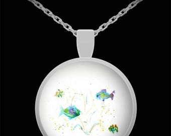 Little Fishies Pendant Necklace - Wearable Art - Sea Life - Fish in the Ocean - Gift