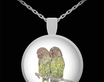 Birds on a Limb Pendant Necklace - Wearable Art - Love birds - Gift for her