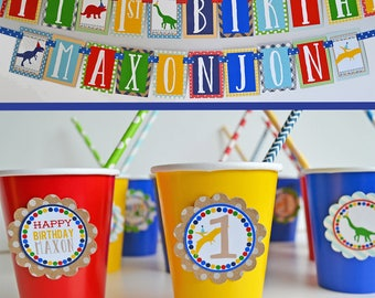 Dinosaur Birthday Party Decorations Package Fully Assembled | Boy Dinosaur Banner | Dinosaurs in Party Hats | Modern Dinosaur Party