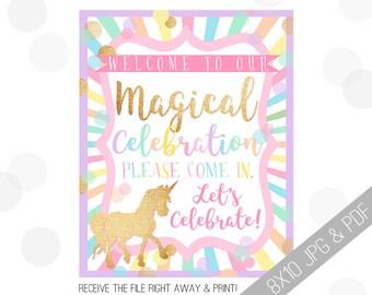 Unicorn Party Printables | Unicorn Welcome Sign | Door Sign | Pastel Unicorn | Rainbow Unicorn Party | Party Sign Unicorn |