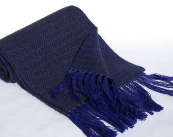 Scarf handwoven - cotton/baby extra-fine Merino/camel