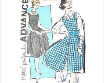 ON SALE Uncut Early 60s Advance 9561 One-Piece Culottes Dress Pattern Pantdress 1950s Misses Jumper Culotte Blouse Vintage Sewing Pattern Bu