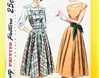 ON SALE Uncut Simplicity 2313 1950s Dress Full Skirt, Boat Neckline, Fitted Bodice, Sleeveless, 1950s Blouse Vintage Sewing Pattern Bust 36