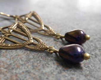 Ready to Ship Fashion Gift Fashion Gift Art Deco Earrings Dangle Glass Teardrop