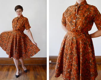 1950s Rust Orange Floral Blouse and Quilted Circle Skirt Set - S