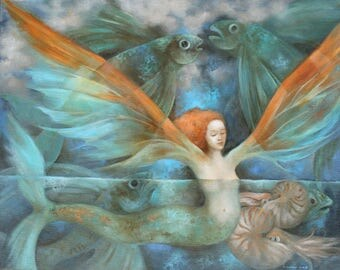 Tonight We Fly   mermaid art print 8 x 10 inches
