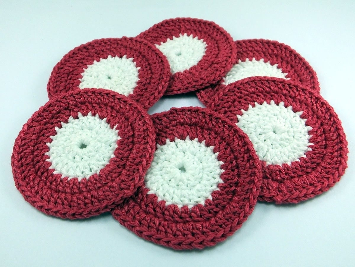 6 psc ,Reusable Organic Cotton Rounds ,Crochet Face Scrubbies ...