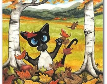 Siamese Cat Falling Autumn Leaves Pet Art - Art Prints by Bihrle ck305