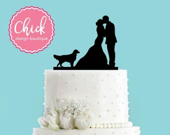 Couple Kissing with Golden Retriever Dog Acrylic Wedding Cake Topper
