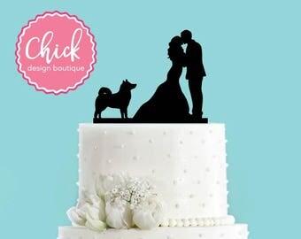 Couple Kissing with Husky Dog Acrylic Wedding Cake Topper