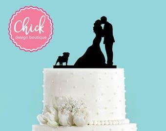 Couple Kissing with Pug Dog Acrylic Wedding Cake Topper