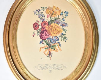 Vintage Framed Floral Print by Carle * bouquet of poppies * wall art * framed art * home decor