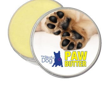 Dog PAW BUTTER Handcrafted in USA Moisturizing Salve for Dry or Cracked, Rough Dog Paw Pads 1 oz. Tin with Puppy Paw on Label in a Gift Bag