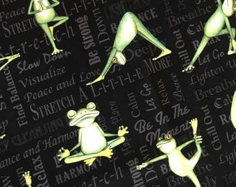 """SALE Yoga Frogs Fabric, Back In Five Minutes Fabric D#AJW-11128, Janet White for TSB & Co  1 yard 32"""" piece"""