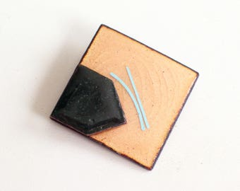 Vintage Enamel Copper Pin Brooch, MCM Jewelry, Copper Enamel Pin, Modernist Pin, Mid Century Modern Abstract Copper Jewelry