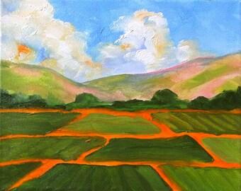 Impressionist Painting Plein Air Landscape California Farm Salinas Fields Art Lynne French o/c 8x10